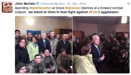 31.12.2016 John McCain und Lindsey Graham besuchen militärischen Außenposten in der Ukraine