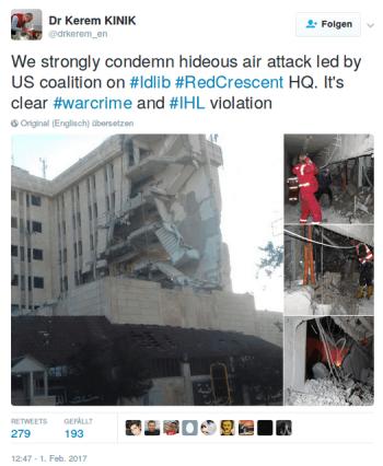 Syrien: ARD und ZDF verschweigen Luftangriff der US-Koalition auf Hauptquartier des Roten Halbmonds